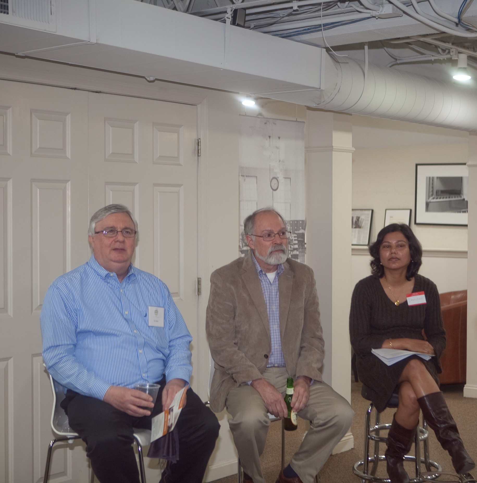Professional happy hour speakers are (l-r) Ken Alston, Skip Laitner, and Devashree Saha.