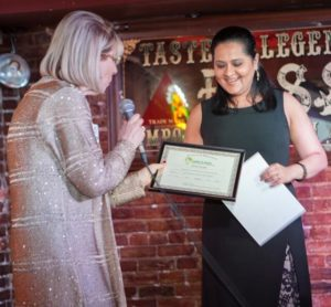 Janine presents Sonia Punjabi with the Generation X Award