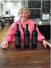 Owner and President of Delaplane Cellars, Betsy Dolphin, along with some wines that we sampled, including the 2014 Cinq5 and 2014 Duet