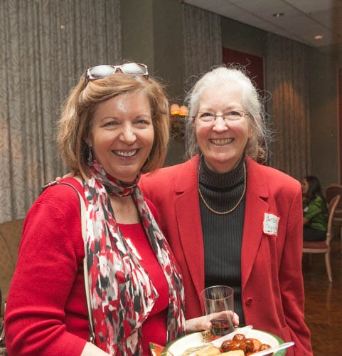 Jeannine Curtin and Barbara Englehart catch up during the networking.