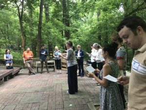 Participants stepped into the center of the circle as they read a statement that particularly resonated with them about making a personal commitment