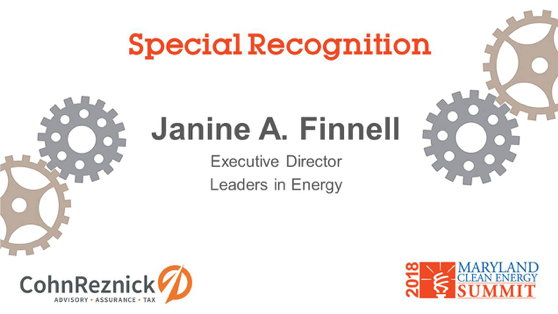 Janine Finnell Honored at 2018 Maryland Clean Energy Summit with Special Recognition Award